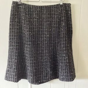 Rafaella Fit Flare Wool Blend Tweed Skirt Lined
